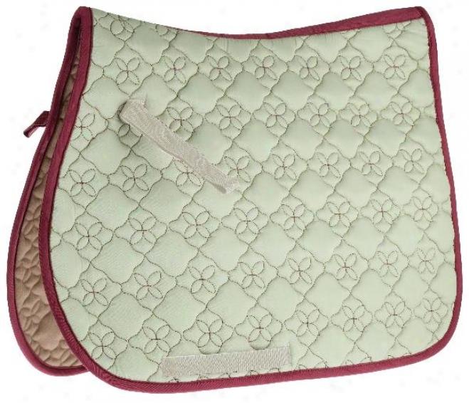 Roma Ecole Contrast Stitch Flower Quilt Saddle Pad - Moss/aubburn - Cc