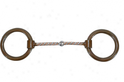 Roping Collection By Metalab Antique Heavy Ring Copper Twisted Snaffle Bit - Antique - 5 1/8