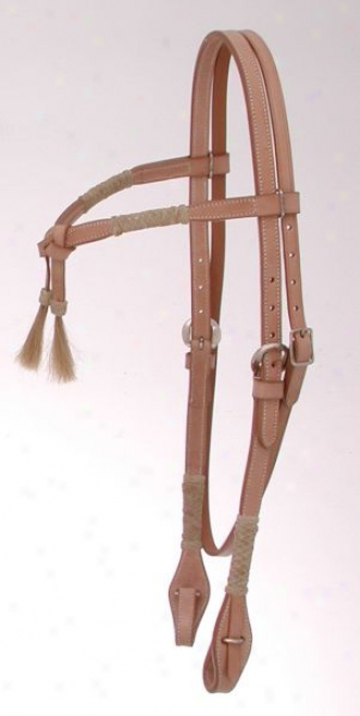 Royal Sovereign Braided Rawhide Futurity Brow Headstall With Horsehair - Natural - Horse