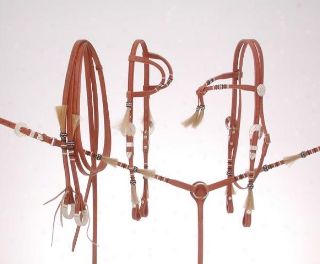 Royal King Rawhide Braided Futurity Brow Headstall - Natural - Horse