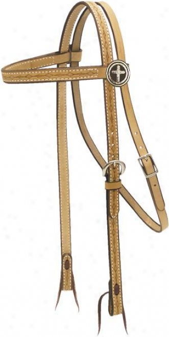 Saddlesmith Of Txes Tooled Steinhoff Headstall - Natural Gold - Horse