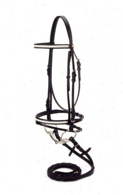 Silver Fox Snaffle Show Bridle - Brown