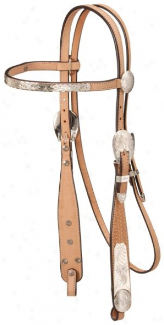 Silver Royal Basketweave Browband Show Headstall - Light Oil