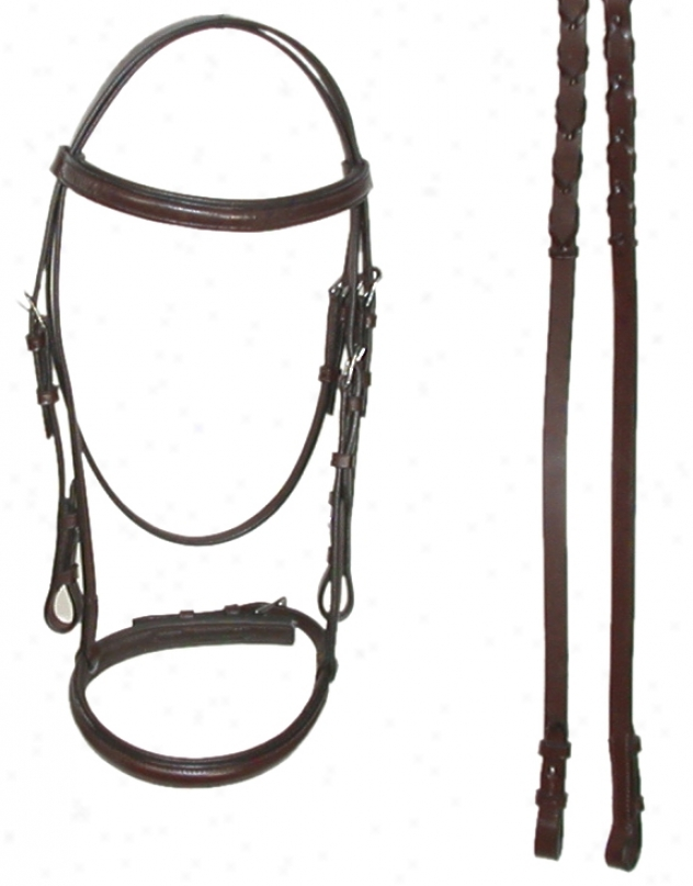 Square Raiseed Padded English Bridle With Flash