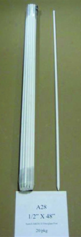 Sugnuard Fiberglass Rod Post - White - 1/2 X 4 Feet