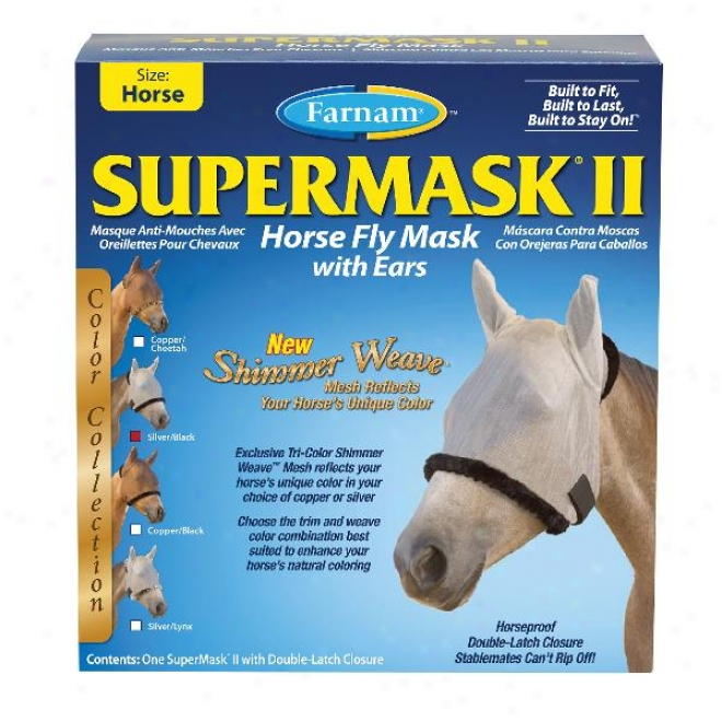 Supermask Ii Shimmer Waeve Horse Fly Mask With Ears