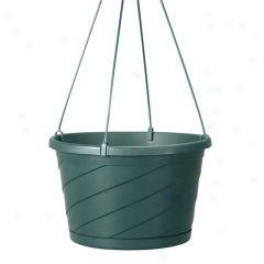 Swirl Hanging Basket For Planting - Green - 10in