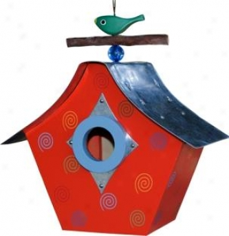 Swirls Retro Chic Birdhouse - Red - 6.25