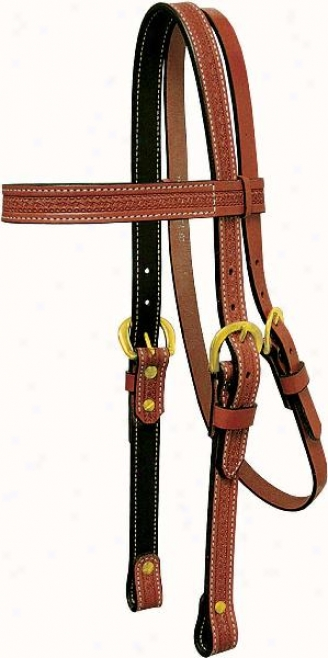 Tex Tan Browband Headstall With Wide Browband - Pecan - Steed