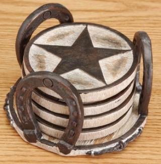 Texas Star 4 Piece Coaster Set With  Holder - Brown - 3 1/2 Diameter