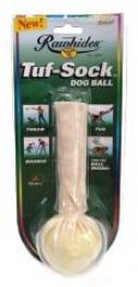 Tuf Sock Dog Ball Dog Toy - White
