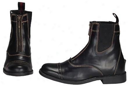 Tuffridrr Ladies' Natasha Front Zip Paddock Boots With  Metal Zipper