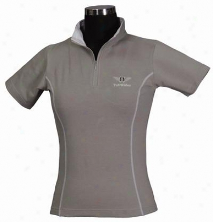 Tuffrider Ladies Shortsleeve Ecogreen Bamboo Zip Tee