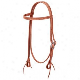 Weaver Doubled And Stitched Browband Hesdstall Through  Latigo Liner/single Cheek Buckle - Russet - Horse