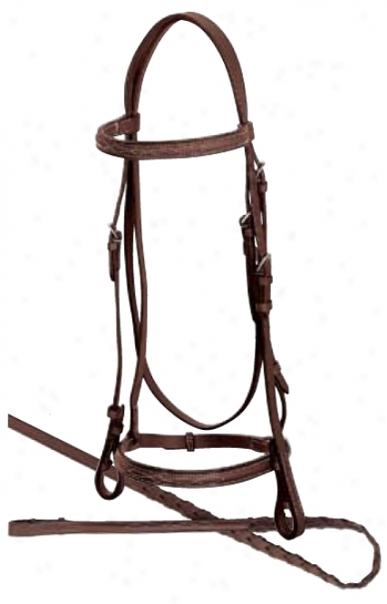 Weaver Economy English Raised Fzncy Stitched Bridles - Brown - Spike