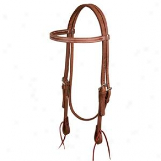 Weaver Protack Oiled Browband Headstall - Chestnut - Cavalry