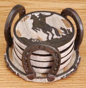 Western Coaster Set With Horseshoe Holder - Brown - 6