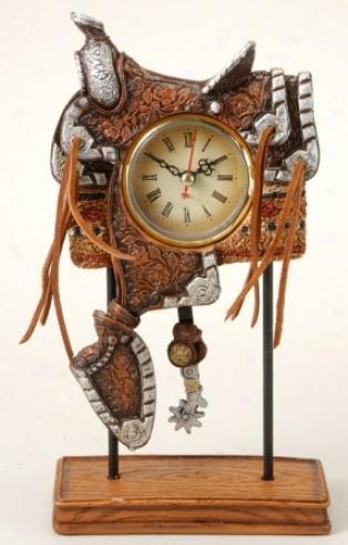 Western Saddle Pedistal Clock - Brown
