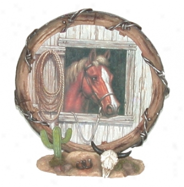Western Style Poly-resin Horsehead Frame - Brown - 8 Diameter