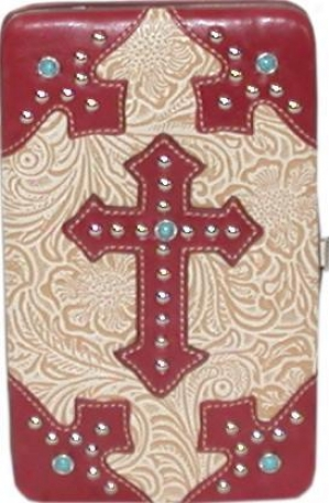 Western Style Wallet With Cross Emblem - Red And Tan With Gemstones