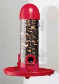 Window Tube Bird Feeder - Red