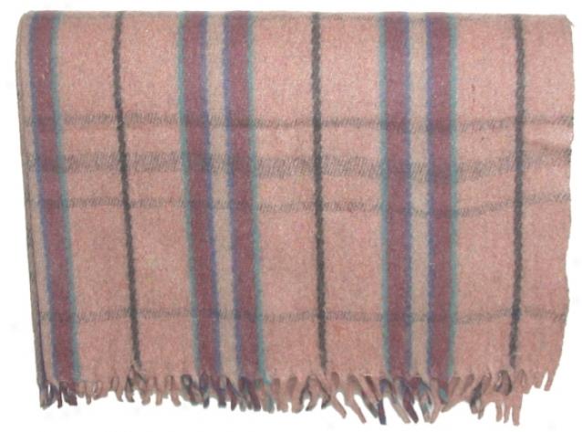 Wool Throw Blanket Wih  Fringe - Multi