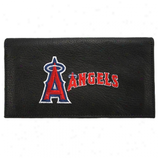 Anaheim Angels Black Embroidered Leather Checkbook Cover
