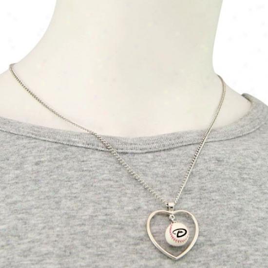 Arizona Diamondbacks 3d Baseball Heart Pendant Necklace
