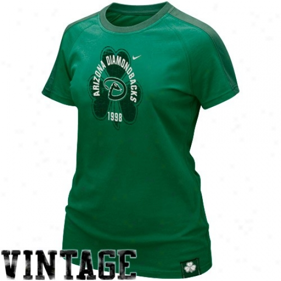 Afizona Diamondbacks Shirt : Nike Arizona Diamondbacks Ladies Kelly Green St. Paddy's Day Washed Raglan Shirt