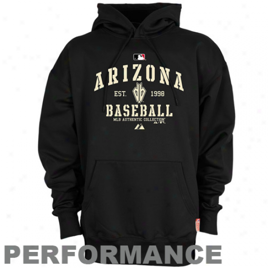 Arizona Diamondbacks Sweat Shirts : Majestic Arizona Diamondbacks Black Ac Elegant Therma Base Performance Sweat Shirte
