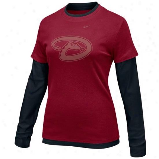 Arizona Diamondbacks Tee : Nike Arizona Diamondbacks Ladies Sedona Red-black Double Layer Tsam Logo Long Sleeve Tee