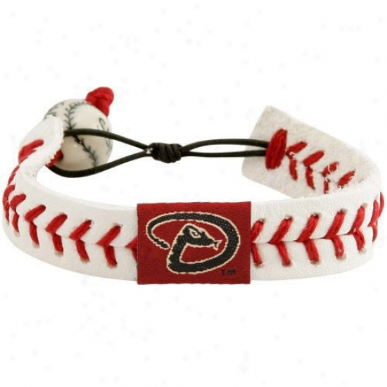 Arizona Diamondbacks White Leather Baseball Seam Bracelet