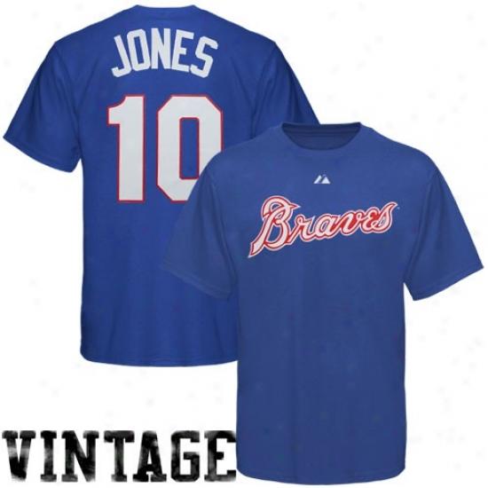 Atlanta Braves Apparel: Majestic Atlanta Braves #10 Chipper Jones Youth Royal Blue Cooperstowwn Player T-shirt