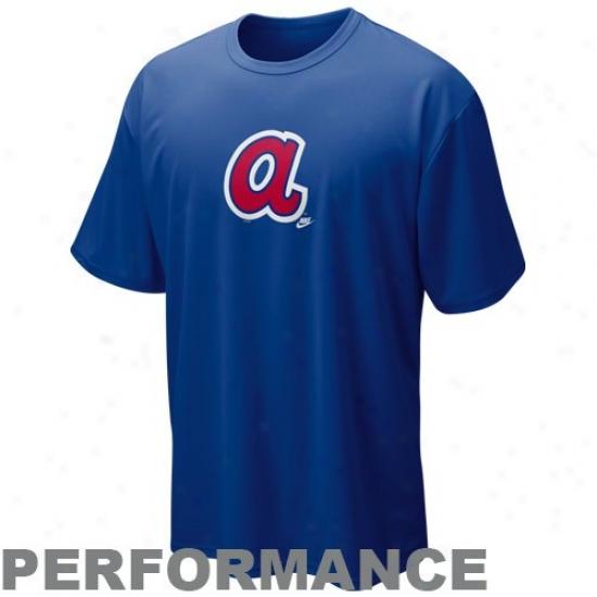 Atlanta Braves Apparel: Nike Atlanta Braves Royal Blue Nikwfit Mlb Coopertsown Logo Performance T-shirt