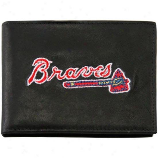 Atlanta Braves Negro Leather Biplfold Wallet