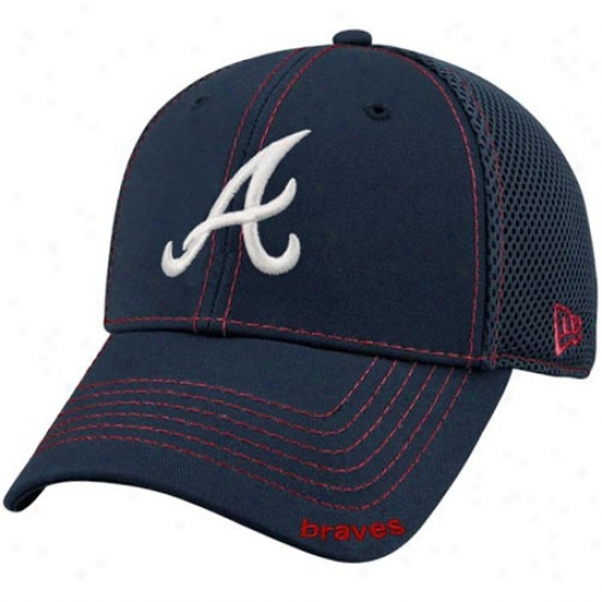 Atlanta Braves Cap : New Era Atlanta Braves Navt Blue Neo 39thirty Stretch Fit Cap