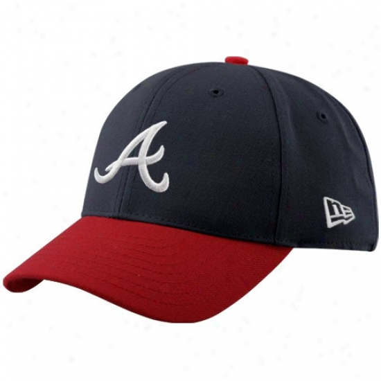 Atlanta Braves Caps : New Era Atlanta Braves Navy Blue-red Pinfh Hitter Adjsutable Caps