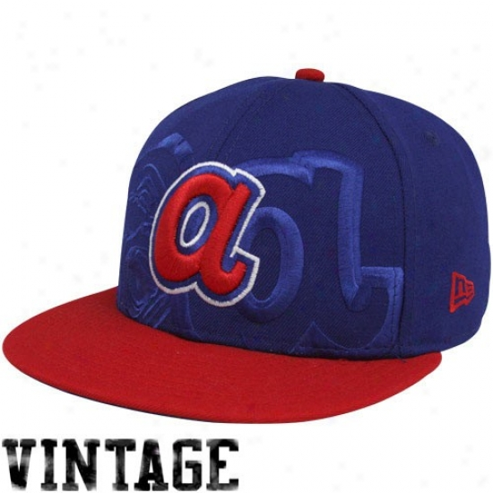 Atlanta Braves Gear: New Era Atlanta Braves Royal Blue-red Big Tonal 59fifty Fitted Hat