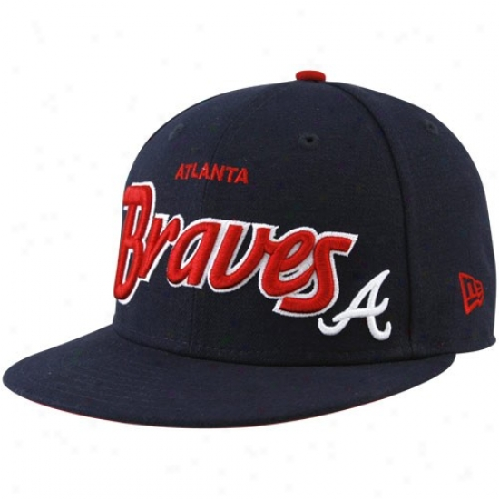 Atlanta Braves Hat : New Point of time Atlanta Braves Navy Blue Snapback Flat Bill Arjustable Hat