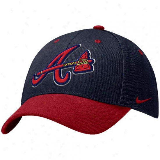 Atlanta Brvaes Hat : Nike Atlanta Braves Navy Blue Wool Classic Adjustable Hat