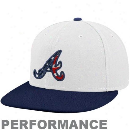 Atlanta Braves Hats : New Era Atlanta Braves White-navy Blue Stars & Stripes On-field 59fifty Fitted Performance Hats