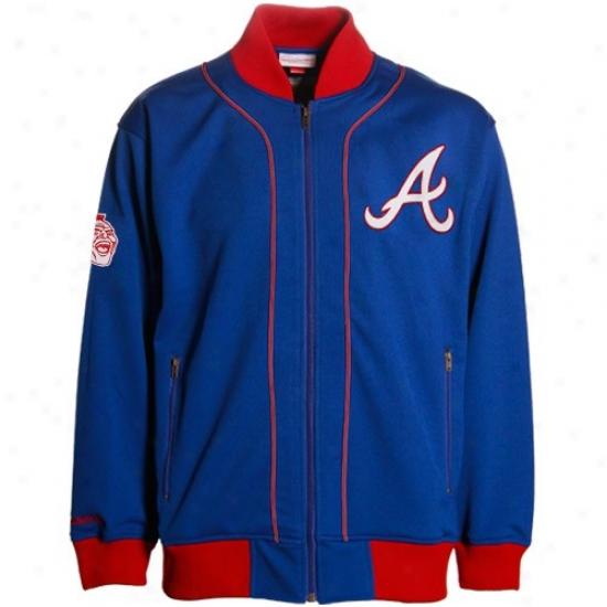 Atlanta Braves Jacket : Mitchell & Ness Atlanta Braves Royal Blue Sportsman Throwback Jacket