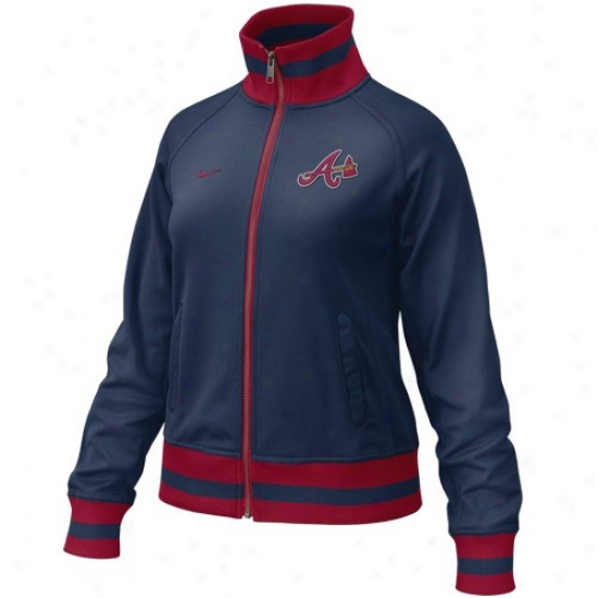 Atlanta Braves Jacket : Nike Atlanta Brages Ladies Navy Blue Track Jacket