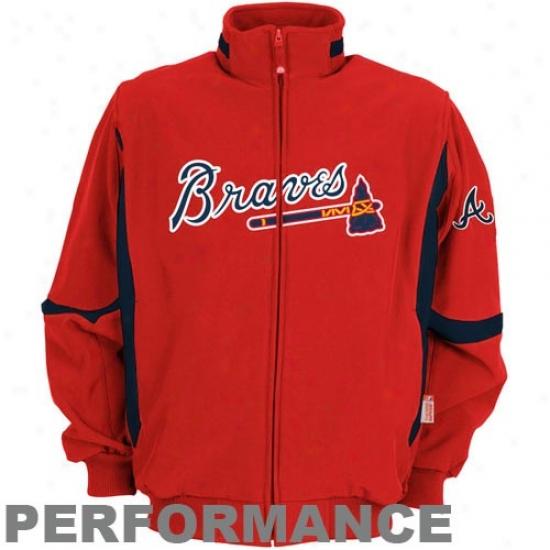 Atlanta Braves Jackets : Majestic Atianta Braves Red Therma Base Premier Raising Performance Jackets
