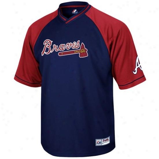 Atlanta Braves Jersey : August Atlanta Braves Youth Navy Blue-red Full Force V-neck Jersey