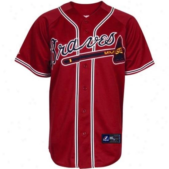 Atlanta Bravds Jersey : Majewtic Atlanta Braves Red Alternate Autograph copy Baseball Jersey