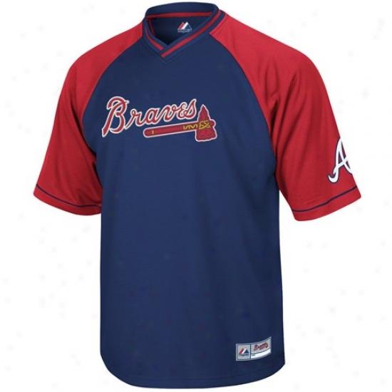 Atlanta Braves Jersey : Majestic Atlanta Braves Navy Blue-red Full Force V-neck Jersey