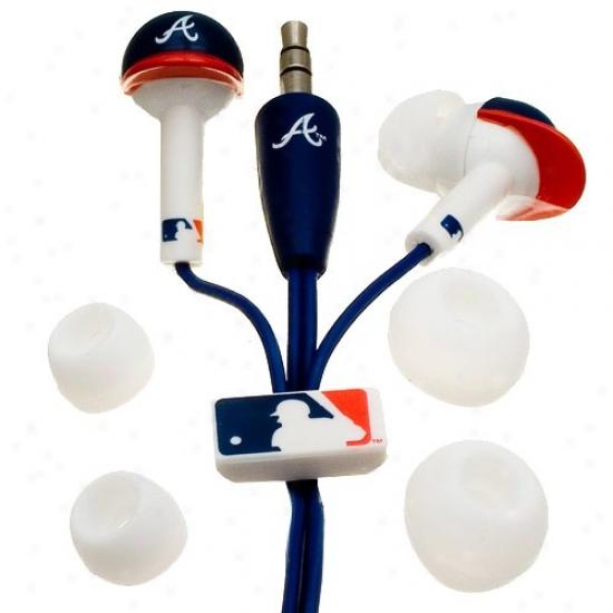 Atlanta Braves Navy Blue Team Logo Helm Earbud Headphones