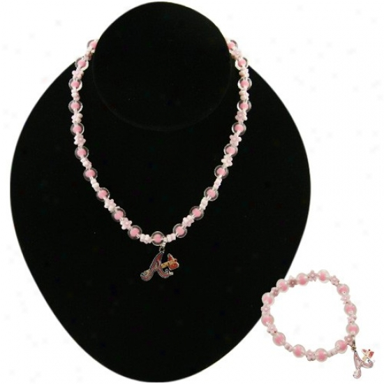 Atlanta Braves Pink Beaded Bracelet & Necklace Set W/team Logo Subdue by a ~