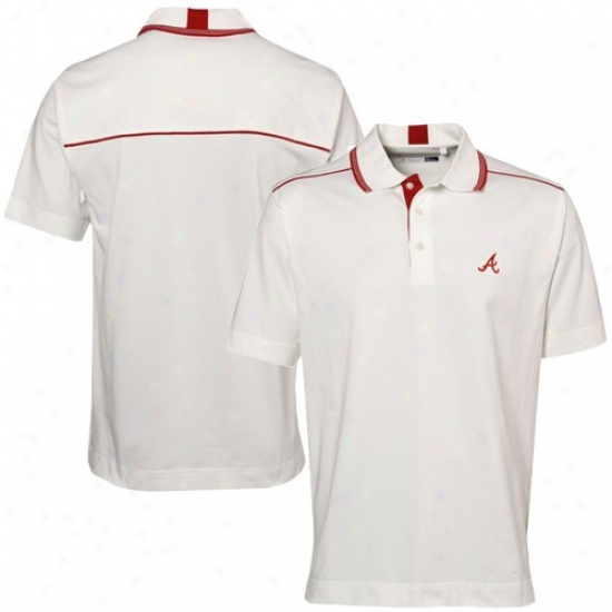Atlanta Braves Polo : Cutter & Buck Atlanta Braves White Baseline Organic Polo